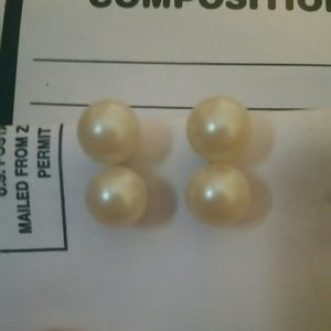 """Jewelry - Vintage """"Pearl"""" and Silver Clip On Earrings"""